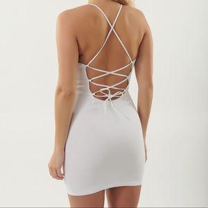 GARAGE White Lace Back Notch Bodycon Mini Dress